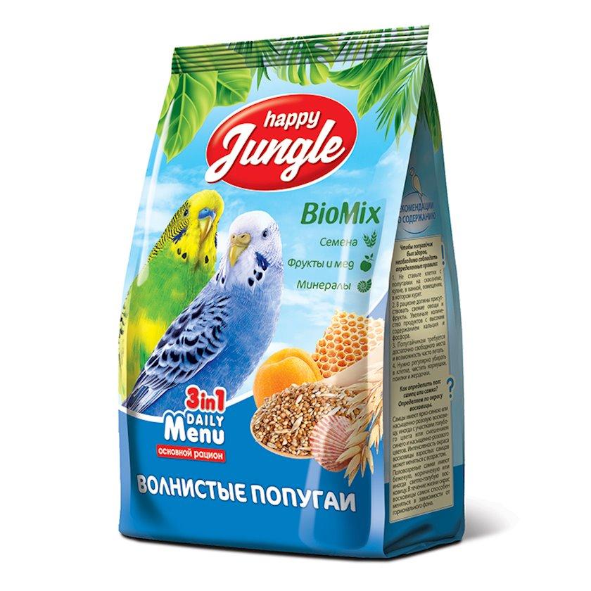 Quru yem Happy Jungle dalğalı tutuquşular üçün, bal ilə, 500 q