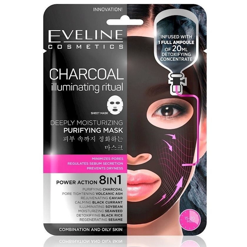 Parça-maska üz üçün Eveline Cosmetics Charcoal Illuminating Ritual Deeply Moisturizing Purifying Mask 8i 1də Dərindən təmizləyici, nəmləndirici
