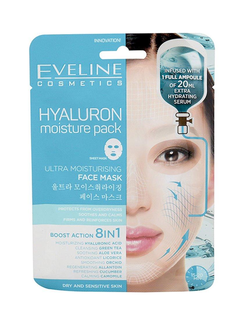 Üz üçün ultra nəmləndirici maska Eveline Cosmetics Hyaluron Moisture Pack Face Mask 8i 1də