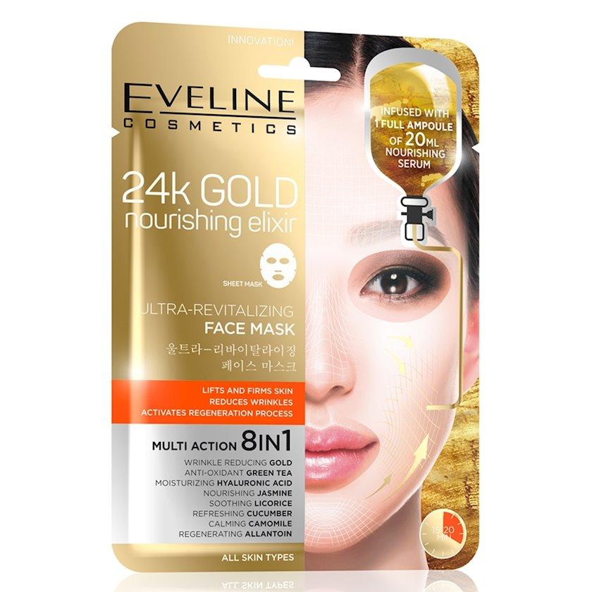 Parça-maska üz üçün Eveline Cosmetics 24k Gold Nourishing Elixir Mask 24K qızıl tərkibli bərpaedici