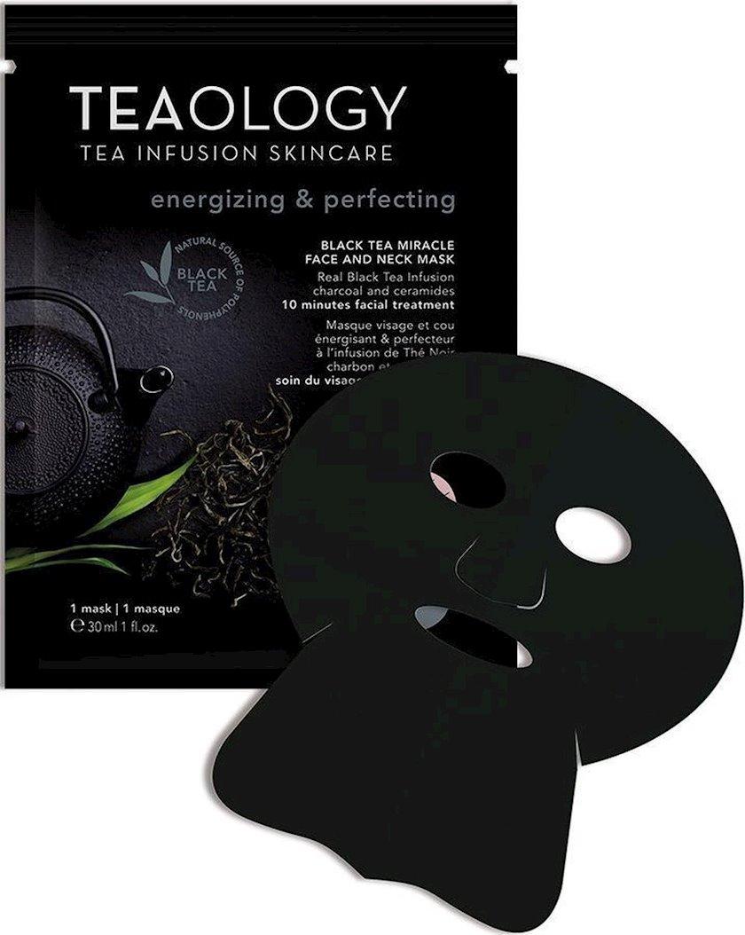 Üz və boyun üçün parça maska Tealogy Black Tea, 30 ml