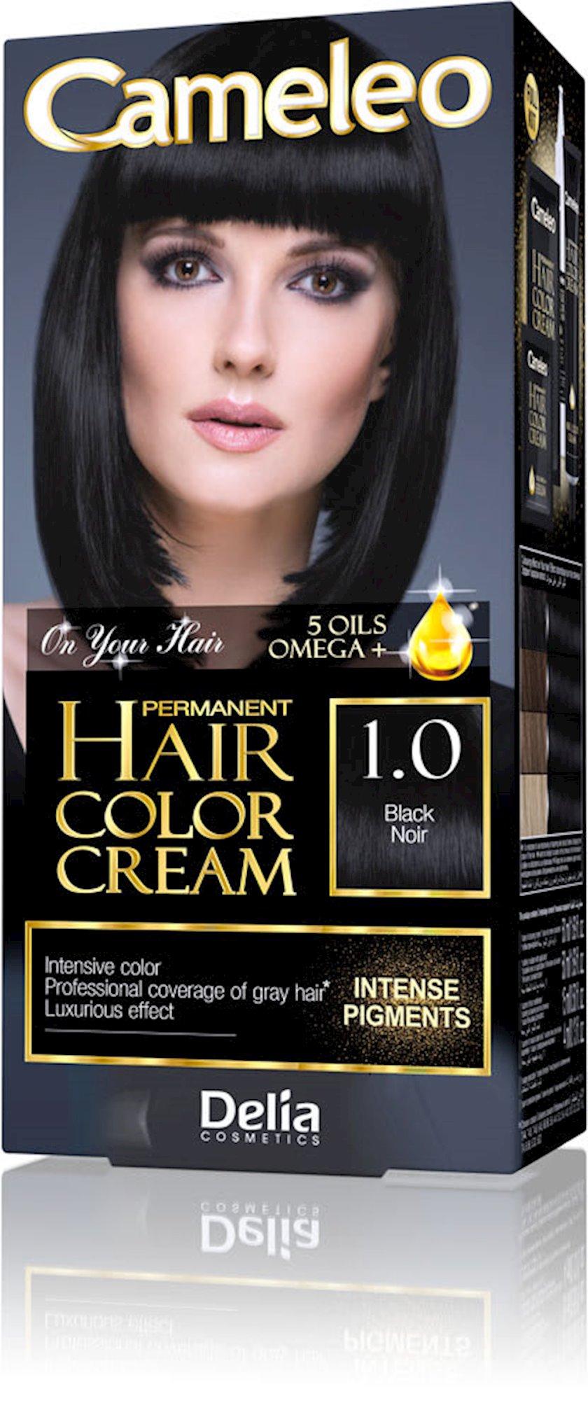 Saç üçün krem-boya Delia Cosmetics Cameleo Permanent Hair Color Cream  Arqan yağı ilə çalar 1.0 Qara  50 ml