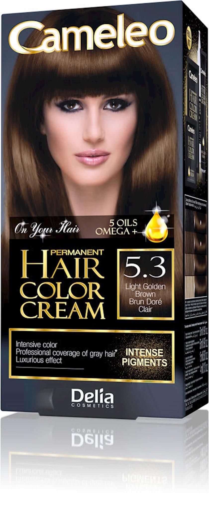 Saç üçün krem-boya Delia Cosmetics Cameleo Permanent Hair Color Cream  Arqan yağı ilə çalar 5.3 Açıq Qızıl Qəhvəyi 50 ml