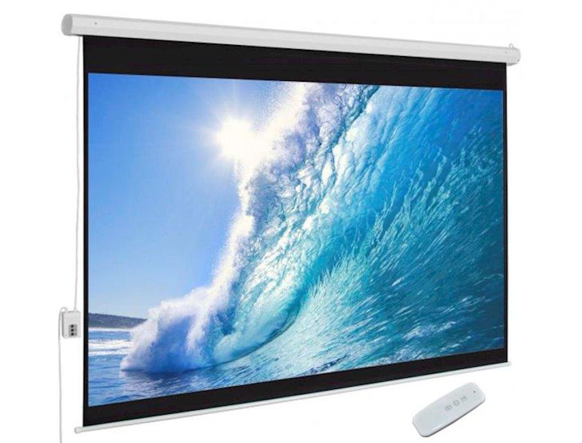 Proyeksiya ekranı Electrical Wide Screen 330x187cm, Ratio 16:9. (Tubular Motor) White Matt 3D Support With Switch / Re
