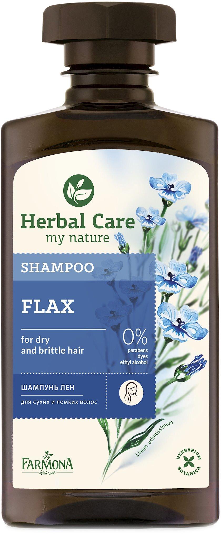 Quru və qırılan saçlar üçün şampun Farmona Herbal Care Kətan 330ml