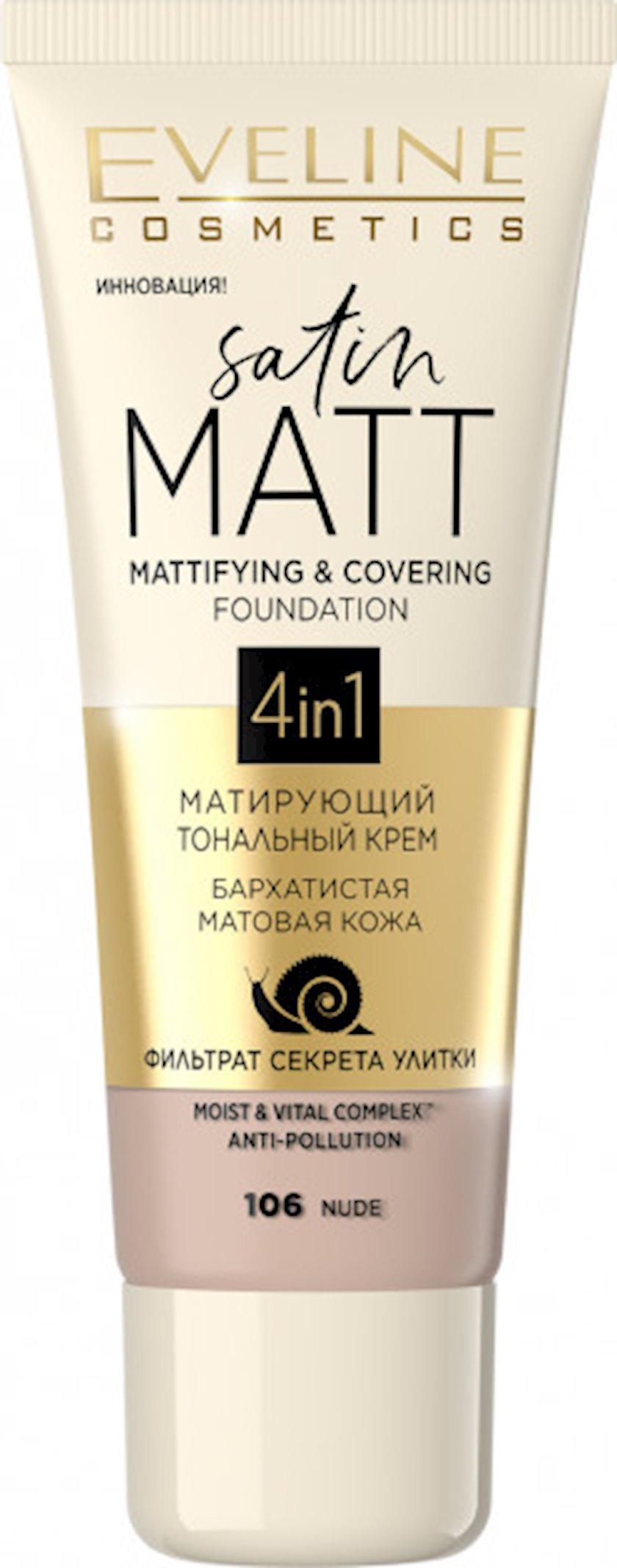 Matlaşdırıcı tonal krem Eveline Satin Matt 106 Nude 30 ml