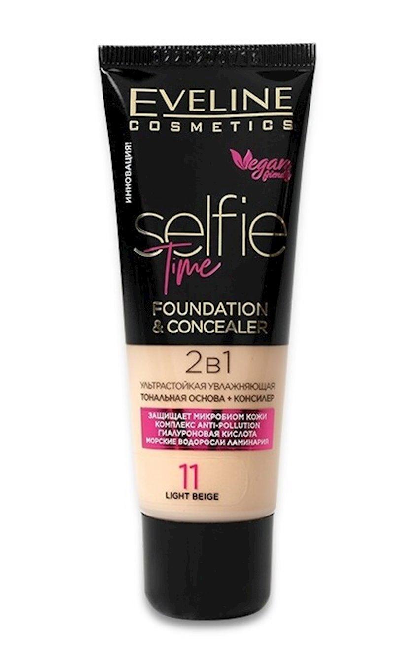 Tonal baza + konsiler Eveline Selfie Time 2-si 1-də 11 Light Beige 30 ml