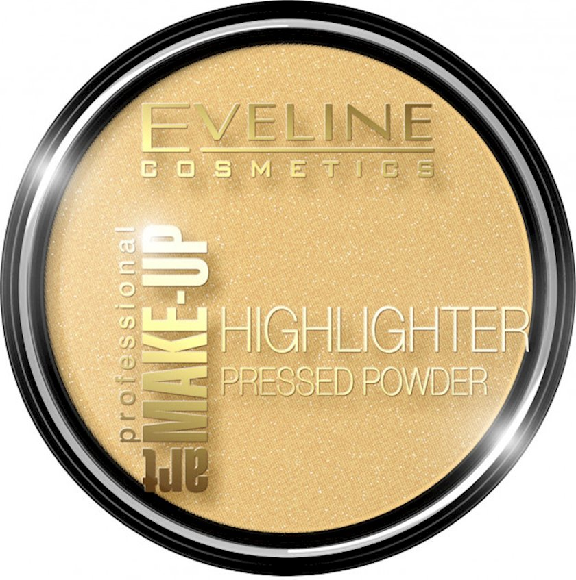 Rəng açıcı kompakt kirşan Eveline Highlighter Pressed Powder Art Professional Make-up N55 Golden 9q
