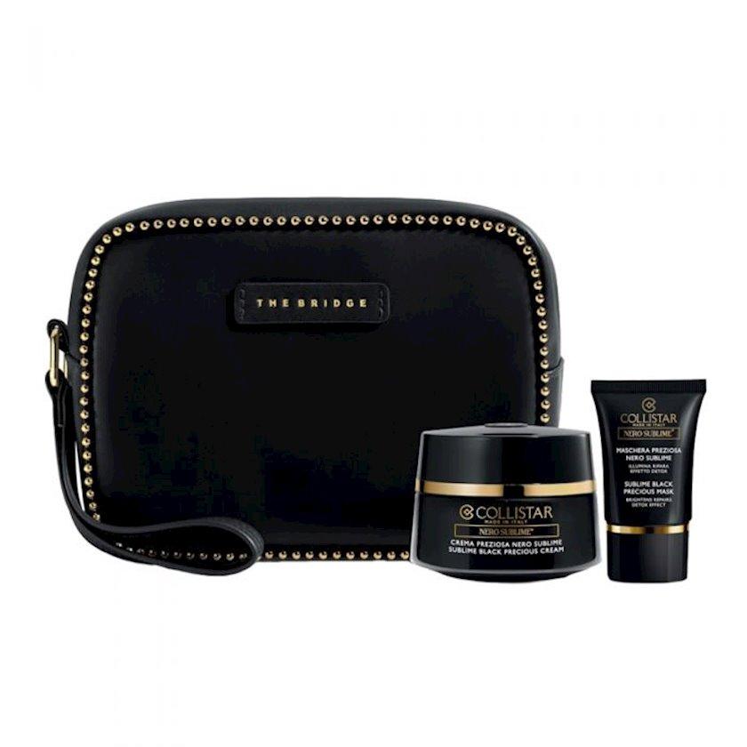 Kosmetik dəst Collistar Sublime Black Cream 50ml - üz üçün krem + Sublime Black 15ml - qara üz maskası + Cosmetic Bag