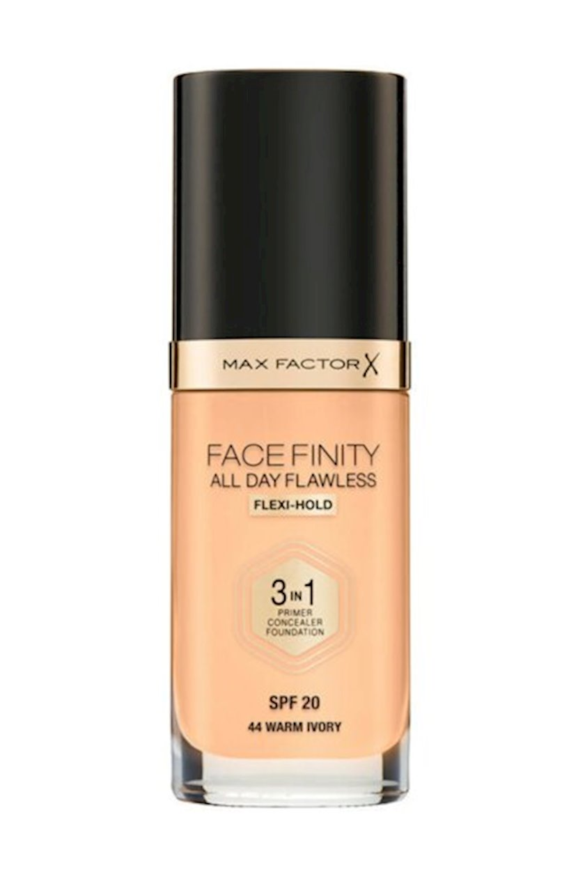 Tonal baza Max Factor Facefinity All Day Flawless 3-in-1 SPF20 ton 44 Warm Ivory 30 ml