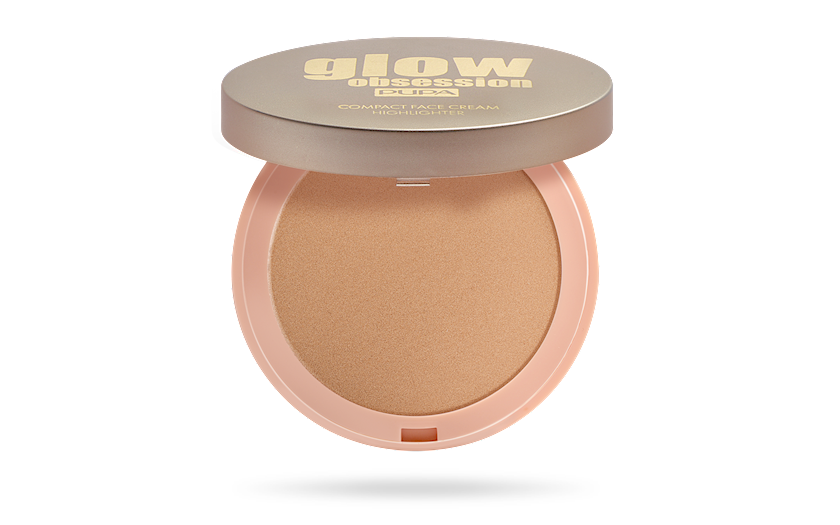 Üz üçün kompakt krem-haylayter Pupa Glow Obsession Compact Face Cream Highlighter 002 9q