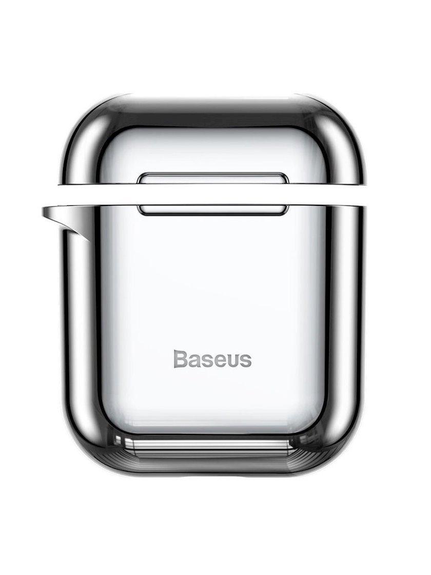 Çexol qulaqlıqlar üçün Baseus Shining Hook Case Apple Airpods 1/2 Silver