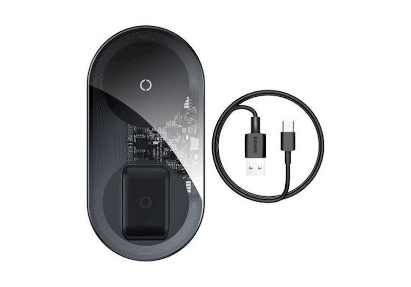 Simsiz şarj cihazı Baseus Sadə Pro 2in1 Wireless Charger Qi Charger for Smartphones and AirPods 15W