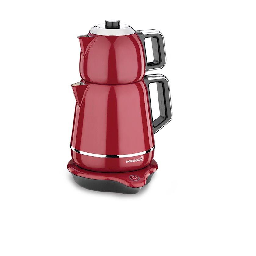 Elektrik çaydan Korkmaz A332 Demiks Electrical Tea Pot Set, qırmızı