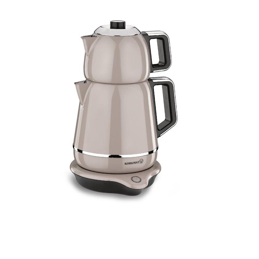 Elektrik çaydan Korkmaz A332-02 Demiks Electrical Tea Pot Set, bej