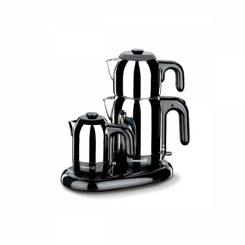 Elektrik çaydan Korkmaz A353 Mia Electrical Tea-Coffee Set, Inox/Black