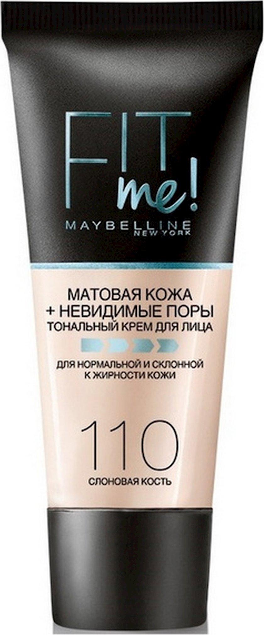 Tonal krem Maybelline New York Fit Me Mat dəri + görünməyən məsamələr 110 Fil sümüyü 30 ml