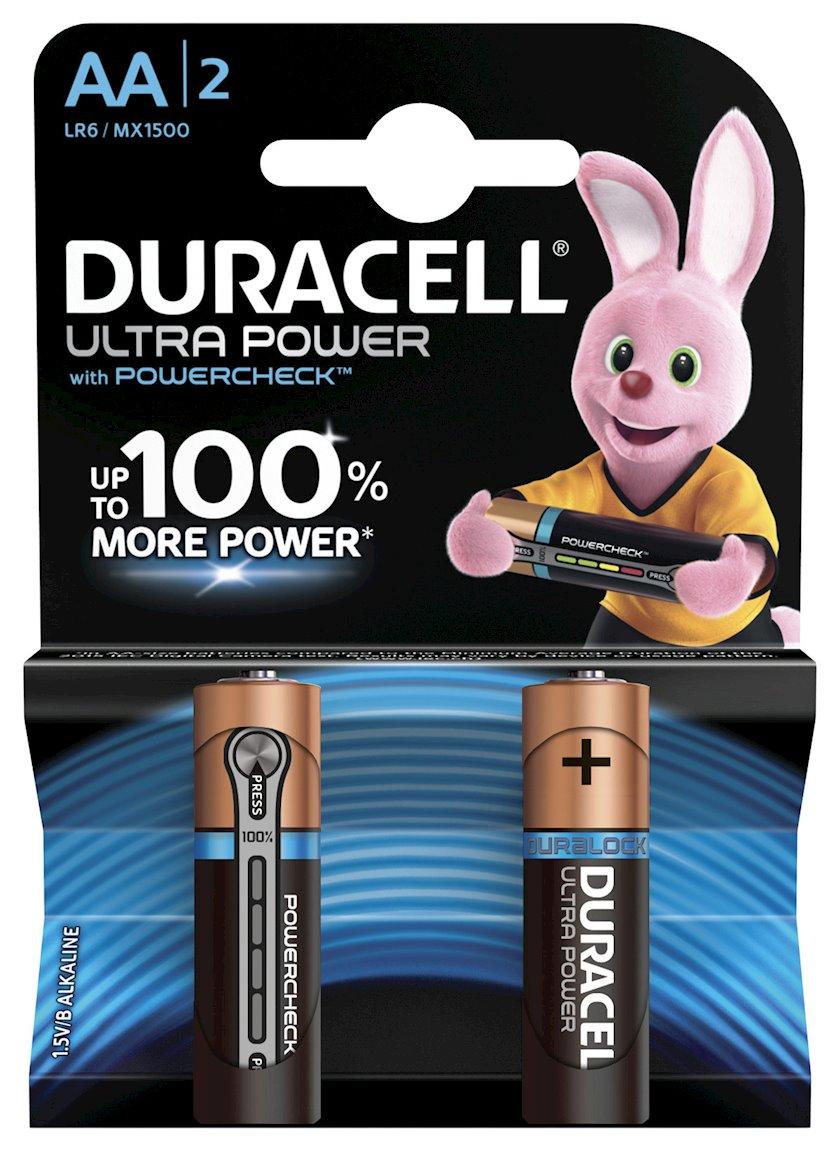 Batareya Duracell Ultra Power AA LR6 MN1500, 1.5V, 2 əd, 90x84 mm, 48 q