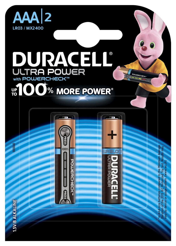 Batareya Duracell Ultra Power AAA MN2400 LR03, 1.5V, 2 əd, 90x84 mm, 22 q