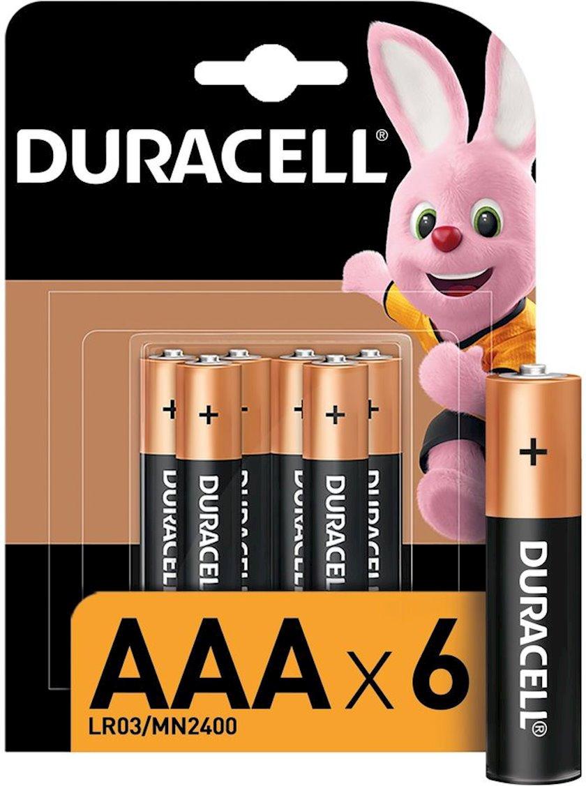 Batareya Duracell Basic LR03-6BL MN2400 AAA, 1.5V, 6 əd, 84x12x21 mm, 74 q