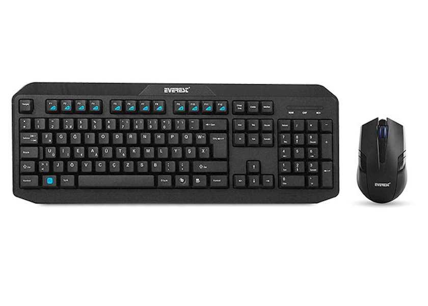 Klaviatura+Siçan Everest KM-8000 Black Wireless Keyboard