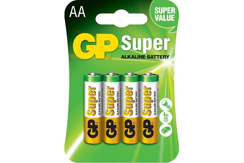 Batareya GP AA 1.5V (LR6) Super Alkaline 15A-U4  4 əd