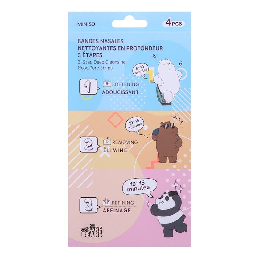 Burun məsamələrinin dərin təmizlənməsi üçün Miniso 3-Step Deep We Bare Bears zolaqları