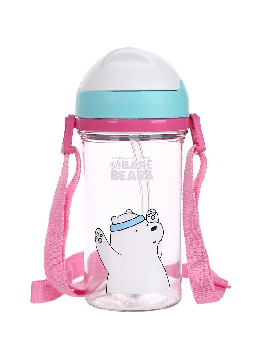 Su butulkası trubka ilə Miniso We Bare Bears Ice Bear, 400 ml
