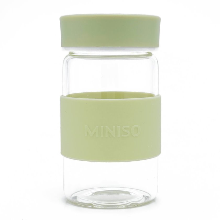 Su butulkası yüksək keyfiyyətli borosilikat şüşədən Miniso Simple, 340 ml, Yaşıl