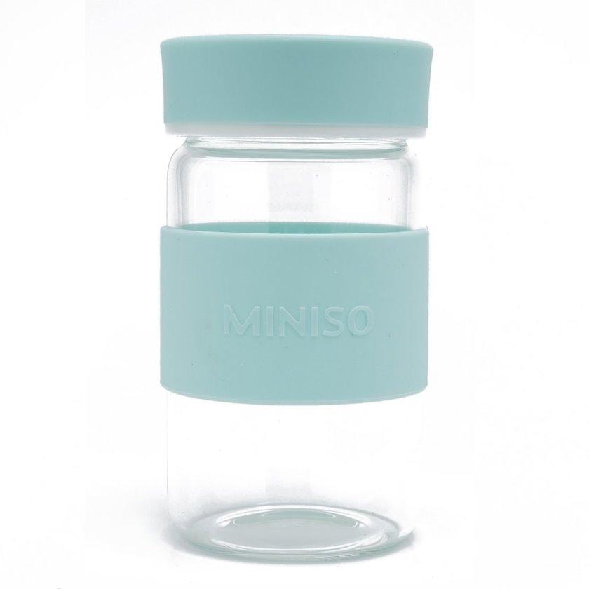 Su butulkası yüksək keyfiyyətli borosilikat şüşədən Miniso Simple, 340 ml, Mavi