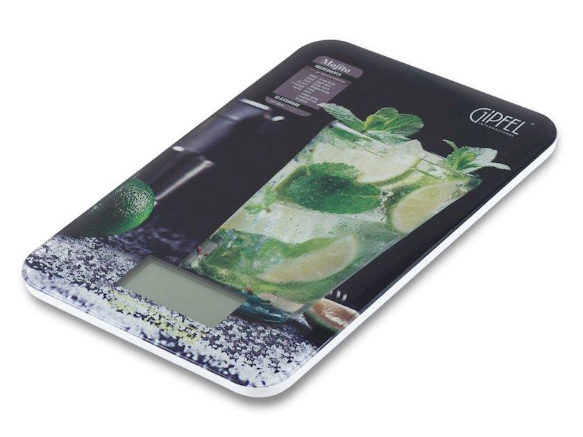 Elektron mətbəx tərəzisi Gipfel RIO 5851 23х15х1, 3sm, reseptlər kitabçası ilə Material: akril, plastik