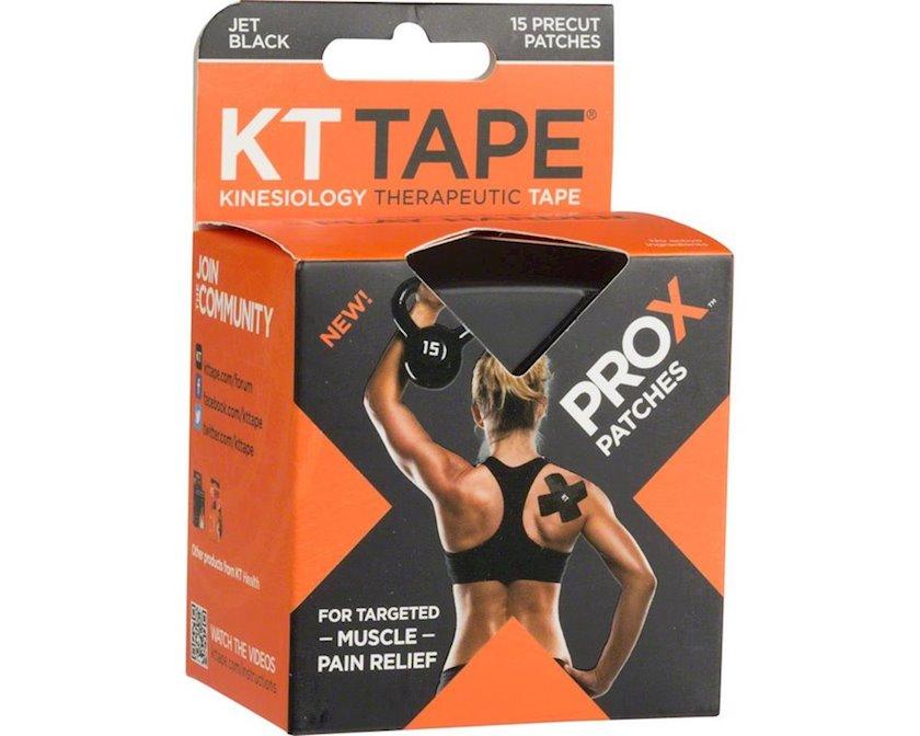 Kinesio-lent KT Tape Pro X, 15 zolaq Əvvəlcədən kəsilmiş, Qara, Ölçü universal