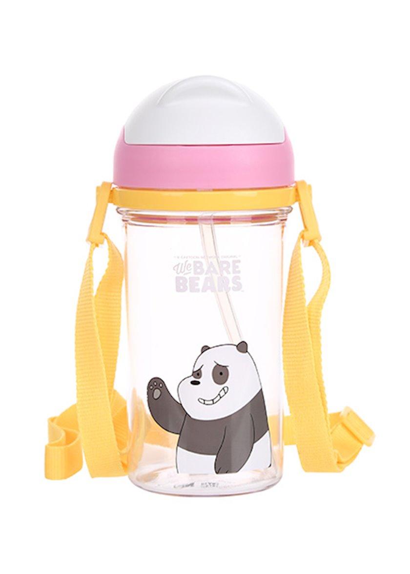 Su butulkası trubka ilə Miniso We Bare Bears Panda, 400 ml