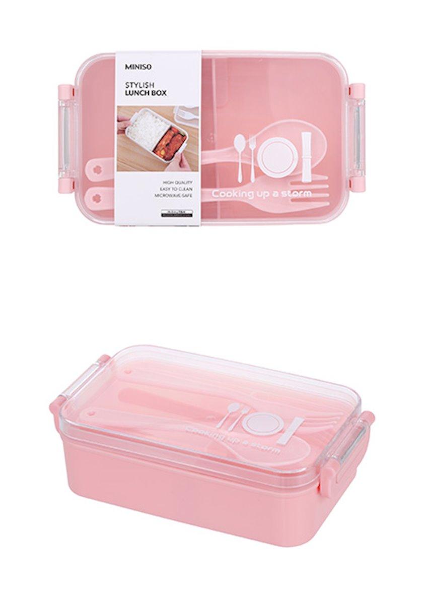 Qida üçün konteyner Miniso Simple and Stylish Lunch Box, Açıq-çəhrayı