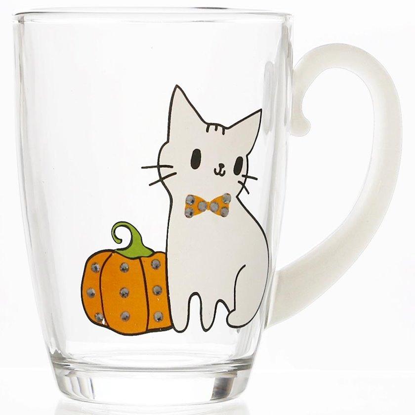 Fincan Miniso Rhinestone White Kitten Glass, 280 ml