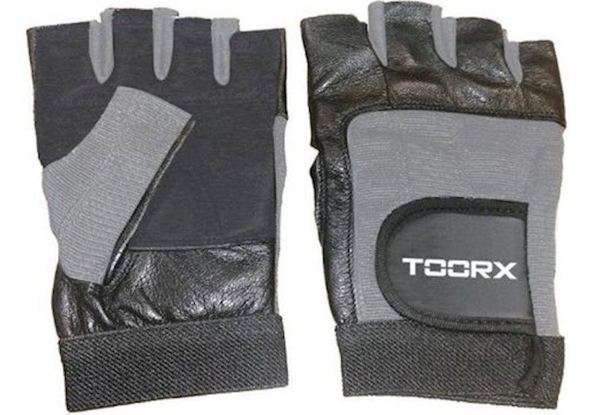 Məşq üçün əlcəklər Toorx training gloves AHF-031, Uniseks, Yapışqanlı kəmər, Poliuretan/Zamşa/Dəri, Qara/Boz, Ölçü S