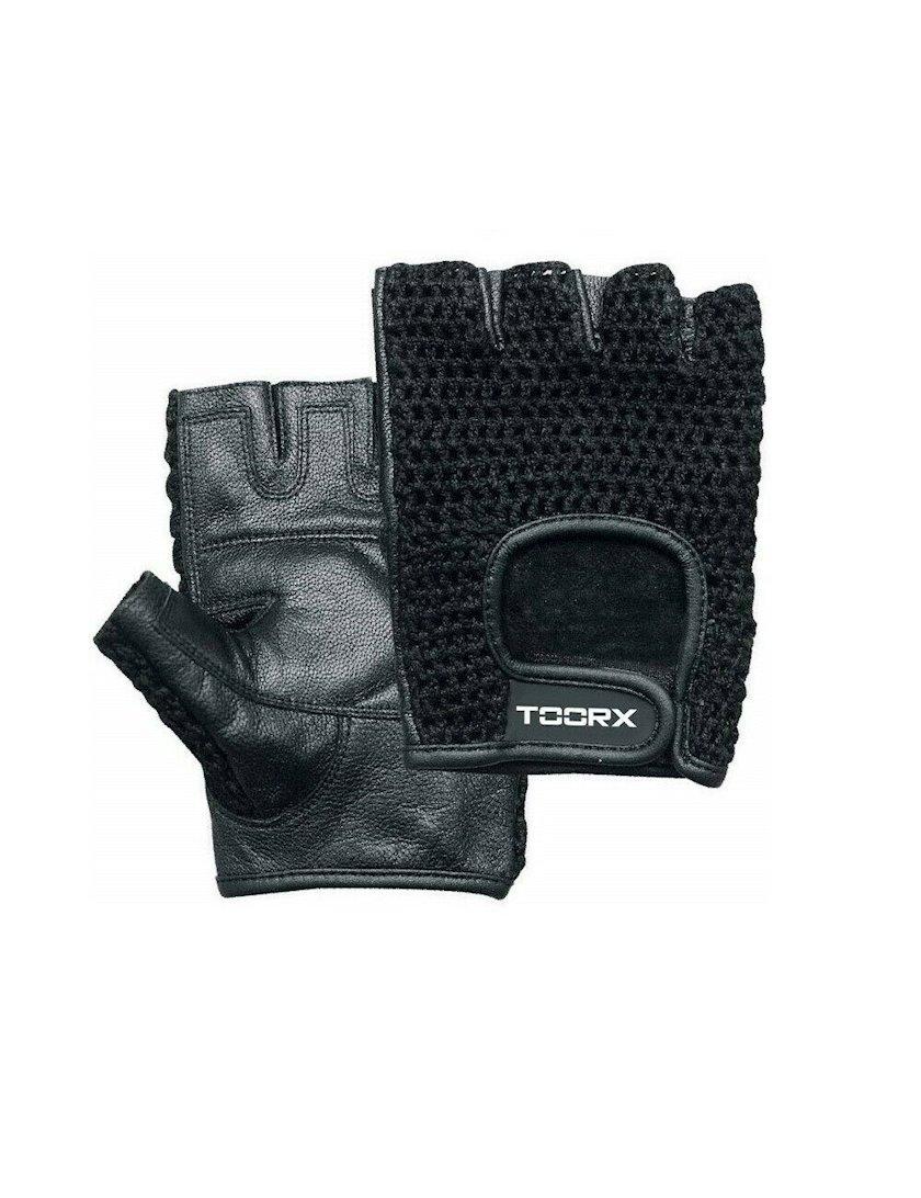 Ağır atletika üçün əlcəklər Toorx training gloves AHF-038, Uniseks, Yapışqanlı kəmər, Dəri, Qara, Ölçü M