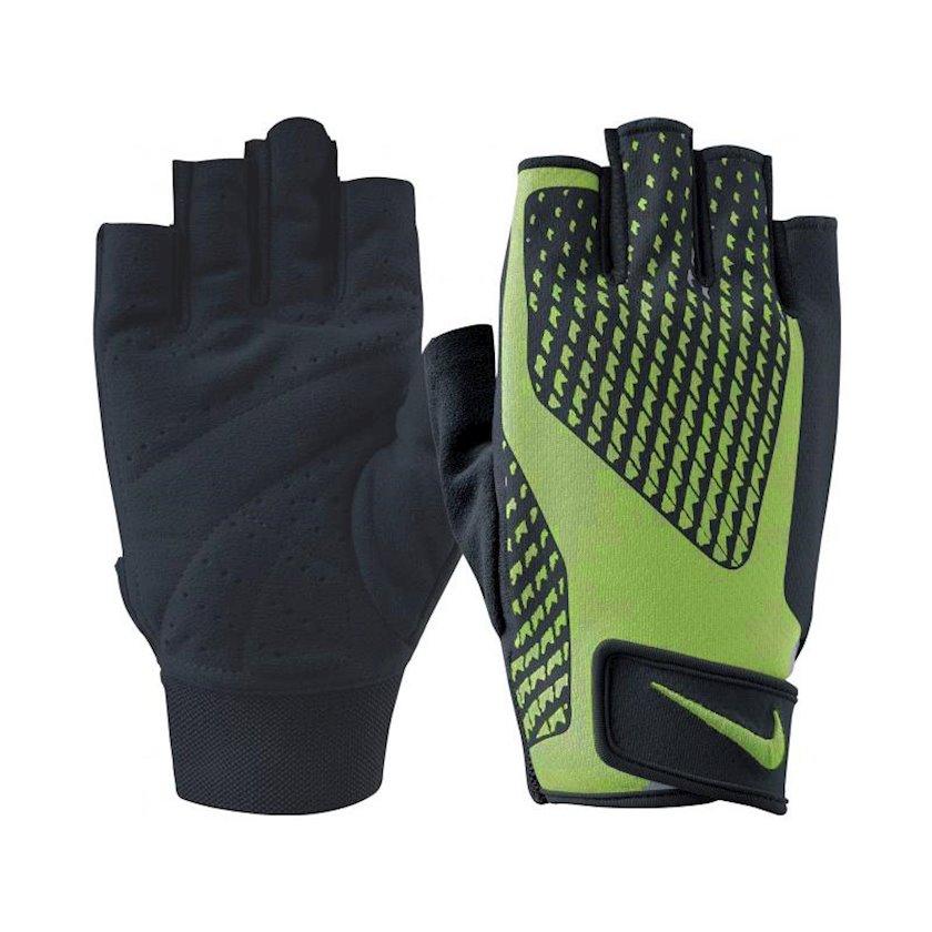 Məşq üçün əlcəklər Nike Men's Core Lock Training Gloves 2.0, Kişi üçün, Yapışqanlı kəmər, Qara/Yaşıl, Ölçü M