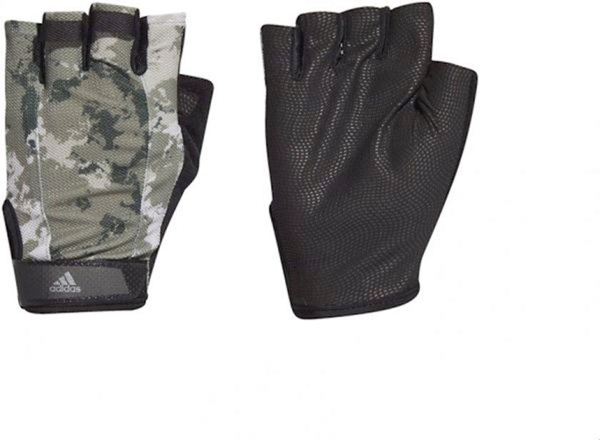 Fitnes üçün əlcəklər Adidas Fitness Half Finger Gloves GC9088, Uniseks, Yapışqanlı kəmər, Neylon/Polyester, Qara/Yaşıl, Ölçü L