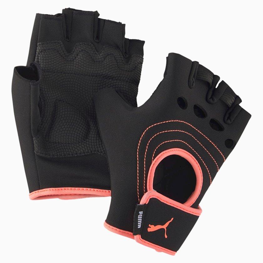 Məşq üçün əlcəklər AT Training Fingered Puma Gloves 04161402, Qadın üçün, Yapışqanlı kəmər, Polyester, Qara, Ölçü M
