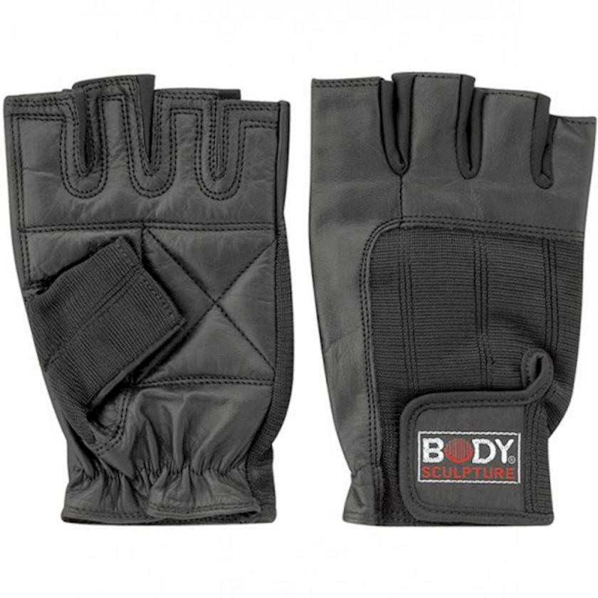 Ağır atletika üçün əlcəklər Body Sculpture Spandex Leather Fitness Gloves BJBW-85B-H03, Uniseks, Yapışqanlı kəmər, Dəri, Qara, Ölçü S