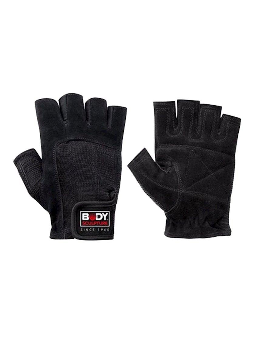 Məşq üçün əlcəklər Body Sculpture Training Gloves BJBW-99-H, Uniseks, Yapışqanlı kəmər, Dəri/Pambıq, Qara, Ölçü M