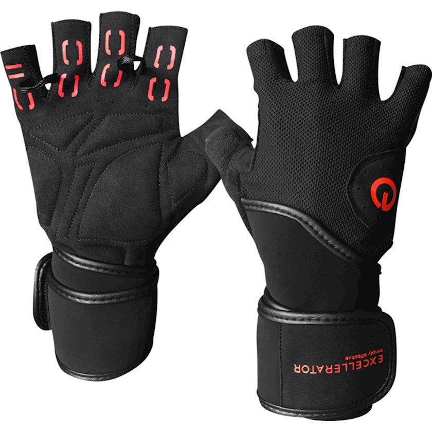 Ağır atletika üçün əlcəklər Excellerator Weightlifting Gloves, Kişi üçün, Yapışqanlı kəmər, Qara, Ölçü L