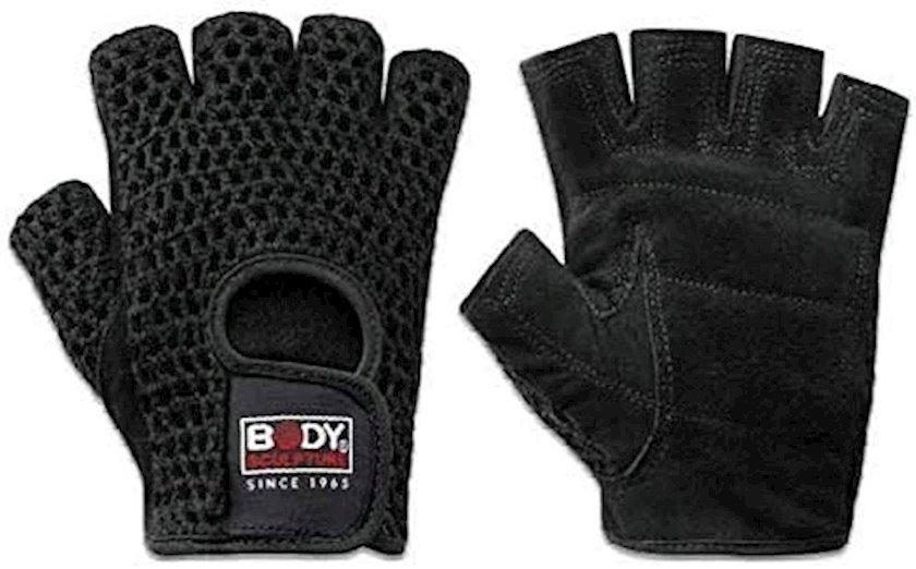 Fitnes üçün əlcəklər Body Sculpture Training Gloves BJBW-83-H01, Uniseks, Yapışqanlı kəmər, Dəri/Pambıq, Qara, Ölçü L