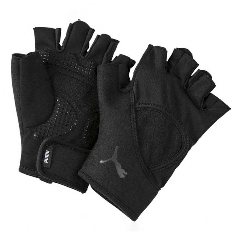 Məşq üçün əlcəklər Puma Essential Training Fingered Gloves 04146603, Kişi üçün, Yapışqanlı kəmər, Zamşa, Qara, Ölçü L