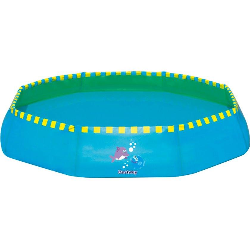 Baseyn Bestway Piscine Plage Eft Foldable, Uşaq üçün, Çoxüzlü, Uzunluğu 99 sm, Eni 99 sm, Hündürlüyü 20 sm, Həcmi 117 l, Mavi/Sarı