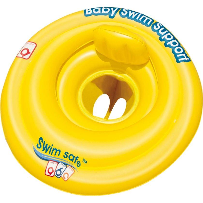 Şişirdilən dairə-oturacaq Bestway Baby Seat Swim Safe 0-1, Uşaqlar üçün, Sarı, Diametr 69 sm
