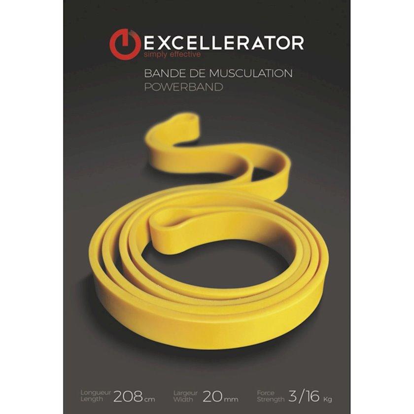 Espander Excellerator Yellow Muscu Band, Yüklənmə 3-16 kq, Uzunluğu 208 sm, Təbii lateks, Sarı