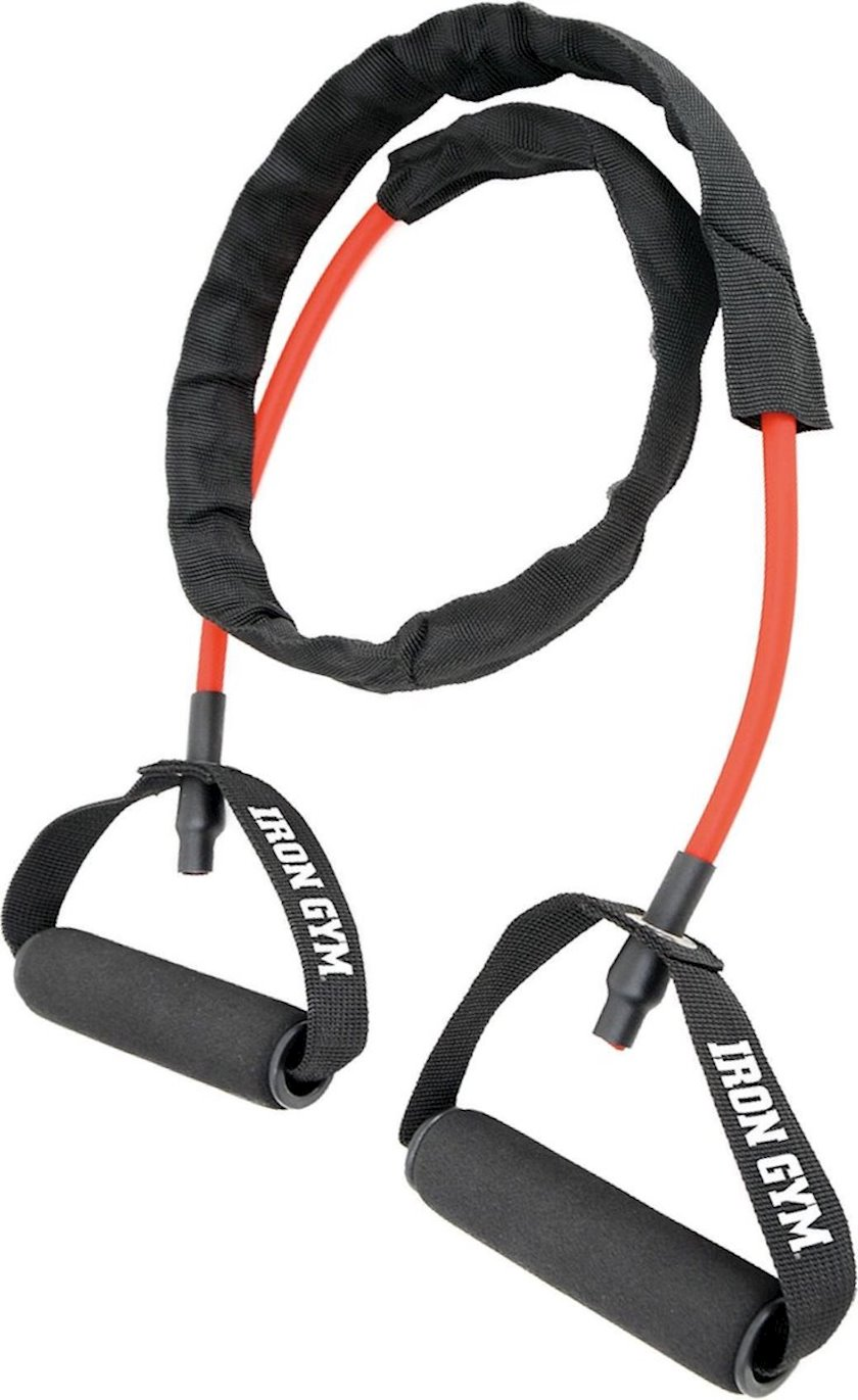 Müqavimət trenajoru Iron Gym Tube Trainer, Yüklənmə Orta, Uzunluğu 136 sm, Lateks, Qırmızı