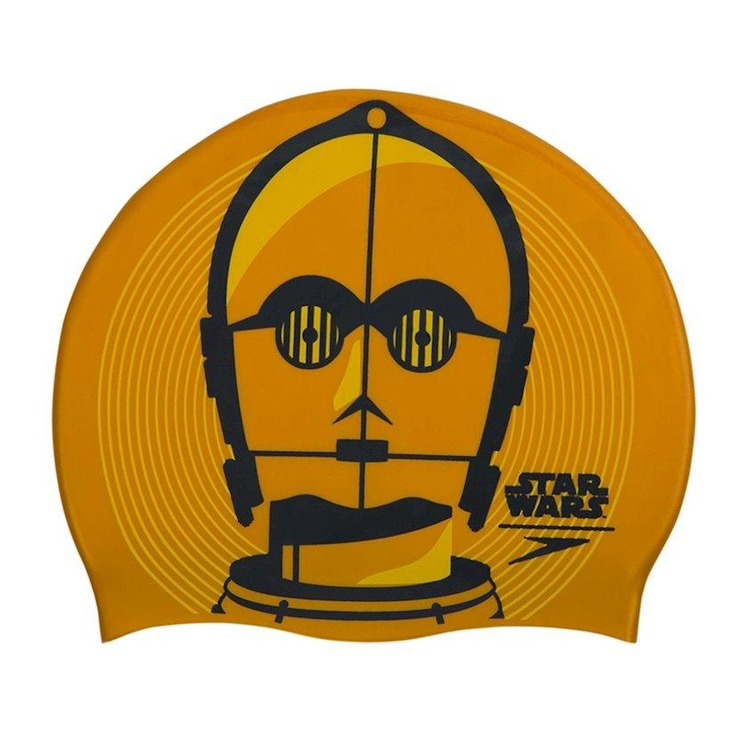 Üzmək üçün papaq Speedo Star Wars C3PO Slogan Print Adult Swimming Cap 8-08385C797, uniseks, qızılı-boz, ölçü universal